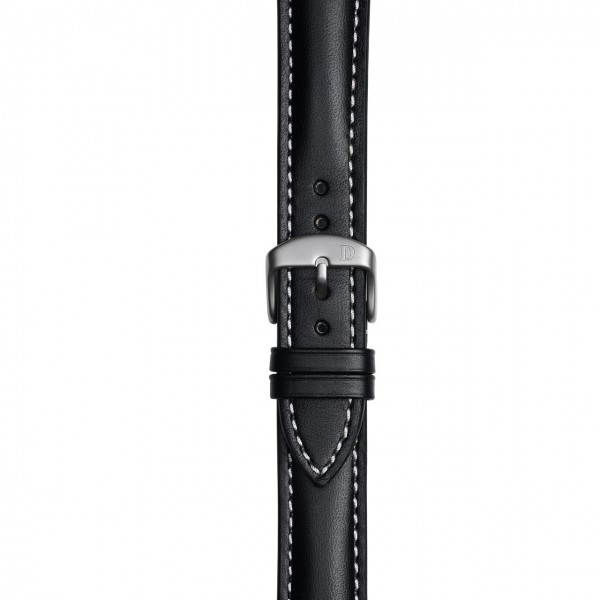 Black Leather Strap with Single Stitching