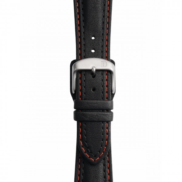 Black Leather Strap with Double Stitching