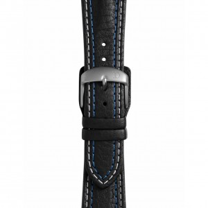 Black Leather Strap with Double Stitching – Pin Buckle (Standard)
