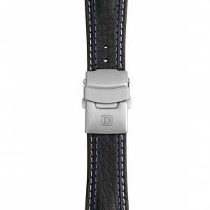 Black Leather Strap with Double Stitching – Deployment Buckle