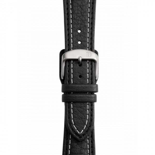 Schwarzes Lederband mit doppelter Naht